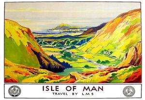 Art Poster Isle of Man LMS Train Rail Colourful Pretty  Print