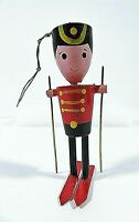 Wooden Toy Soldier On Skis Christmas Ornament Hand Painted 3.75 Inches Tall
