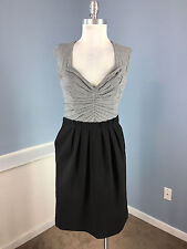 Max and Cleo BCBG S 6 Gray Combo Dress Career Cocktail Excellent stretch pockets