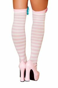sexy ROMA lady LAUGHTER clown STRIPES striped THIGH HIGHS stockings PANTYHOSE