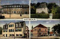 Weimar Thüringen Color Mehrbild AK 1918 gelaufen Goethe Haus Liszt Haus u.a.