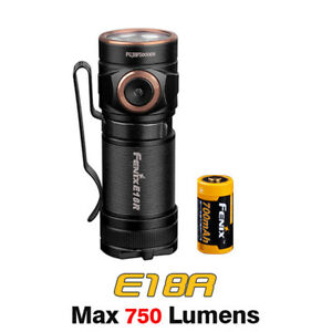 Fenix E18R Cree XP-L HI LED Rechargeable EDC Pocket Flashlight Torch + Battery