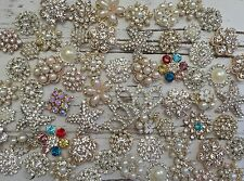 20 Pc Rhinestone Button FlatBack Crystal Silver/Gold Pearl US Seller/Fast Shippi