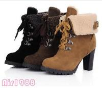 Womens Winter High Heels Platform Lace Up Ankle Boots Casual Shoes Party New