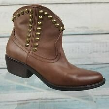 MOSSIMO Womens Brown Ankle Boots Booties Studded Biker Western Style Size 8.5