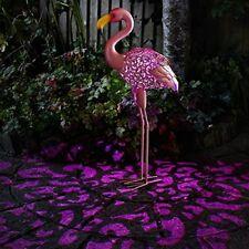 Garden Solar Powered Metal Pink Flamingo Decorative Silhouette Scroll LED Light