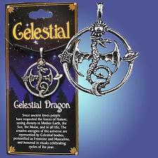 "Moon Star Amulet Pendan Storycard+Cord ""Celestial Dragon"" Draconian Sun Planet"