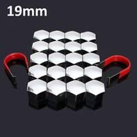 Modern 20x 19mm Car Alloy Wheel Nut Bolt Covers Caps Chrome Silver + 2x Clip UK