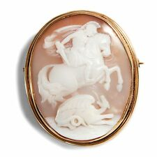Vers 1880 : Antique Gemme , st Georg & Dragon Broche or 585 Camée / George Cameo