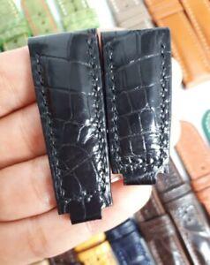 BLACK GENUINE ALLIGATOR CROCODILE LEATHER SKIN WATCH STRAP BAND 20mm/16mm