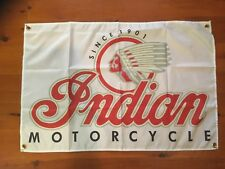Poster mancave flags shed poolroom wall hanging motor cycle Indian scout biker