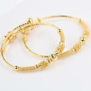 24k Yellow Gold Filled Baby's Bracelet Adjustable Children's Bangle(2pcs/lot)