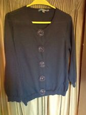 Boden Dark Grey Wool Cardigan With Faux Sequin & Bead Buttons Size 14