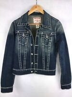 TRUE RELIGION DISCO EMILY WOMEN JEAN JACKET DIAMOND-BLING STYLE; SIZE SMALL