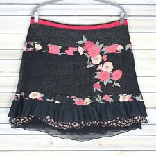 Free People Layered Floral A Line Skirt Black Red Ruffled Cotton Silk Size 8