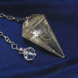 Rutilated Quartz Crystal Pendulum Faceted w/ Unique Bead End Piece