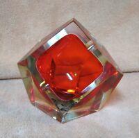 Vintage ITALIAN MURANO MANDRUZZATO Sommerso Glass ASHTRAY