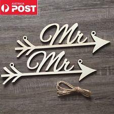 Mr & Mr Groom Same Sex Sign Wooden Wedding Arrow Prop Decoration Hanging Chair