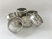 lot of 6 antique sterling silver & silver plated napkin rings scrap or not