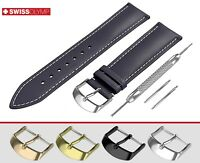 Fits CITIZEN Flat Navy Blue Genuine Leather Watch Strap Band For Buckle Clasp