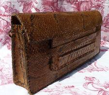 Ancien petit sac à main vintage en peau de serpent, pochette ancienne vers 1940