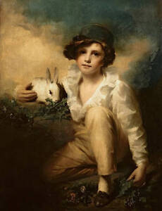 Oil painting handsome young boy with his pet white rabbit in sunset landscape AA