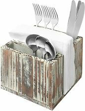 Rustic Torched Wood Tabletop Picnic Buffet Caddy for Flatware and Napkins