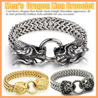 Men's Biker Bracelet Stainless Steel Gold Silver Lion Dragon Head Franco Chain