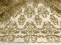 """Gold embroidery lace fabric 50"""" width sold by the yard"""