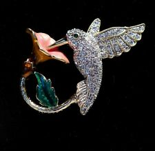 Beautiful Humming Bird Enamel & Paste / Diamante Brooch.