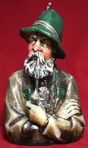 Vintage German Bearded Man Smoking Pipe Green Fedora Molded Candle Bust RARE