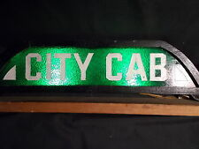 RARE Chicago 1930s vintage TAXI CAB Green Glass CITY CAB Light Up Sign