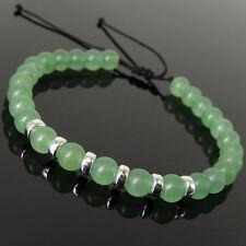 Men's Women Braided Bracelet Aventurine Quartz 925 Sterling Silver Spacers 1159