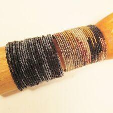 Set of 2 Metallic Wide Color Block Boho Cuff Handmade Bracelets Bali Seed Bead