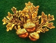 Avon Gold Tone Fall Oak Green Enamel Leaf Autumn Brown Acorn Pin Brooch