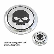 Chrome W/ Black Skull Derby And Timer Covers Street Glide FLHX Softail Harley