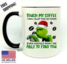 The Grinch, Touch My Coffee..., Funny Christmas Gift, Black Mug 11 oz, Coffee