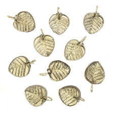 Shiny Grey Glass Leaf Charm Pendants 16x12mm Pack of 10 (B65/5)