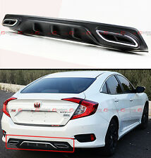 For 2016-18 Honda Civic Shark Fin Rear Bumper Diffuser W/ Decorative Exhaust Tip