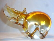 VTG MURANO RHINO ART GLASS SCULPTURE Italian Glass Sommerso Rhinoceros Statue