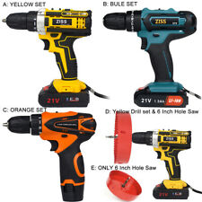 21V Cordless Drill Electric Screwdriver Driver DIY Tool with Bits Set & Battery