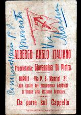 NAPOLI Italie ,HOTEL ALBERGO ANGLO-ITALIANO GIOVANNINA DI PIETRO Carte de visite