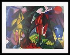 Franz Marc Pferde und Adler Poster Bild Kunstdruck im Alu Rahmen in schwarz