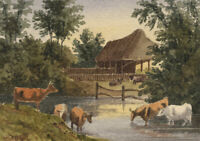 William James Müller, Cows in Miniature – Early 19th-century watercolour pain...