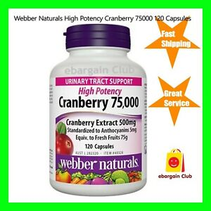 Webber Naturals High Potency Cranberry 75000 120 Capsules UTI Support eBC
