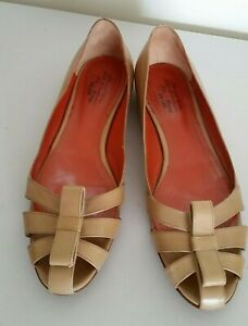 Size 40 Womens Ladies Leather Flats Shoes Santoni Rose Collection Brown Formal