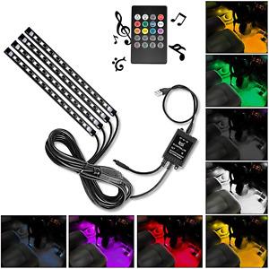 USB Interior Lights DC 5V Multicolor Music Car Strip Under Dash Light - 4 Pieces
