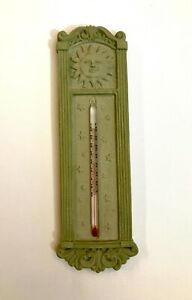 "New 10.5"" Outdoor Thermometer Decorative Patio Terrace Green Ceramic Celestial"