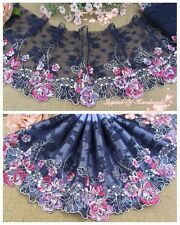 """6""""*1Y Embroidered Floral Tulle Lace Trim~Deep Blue+Purple+Fuchsia~Bloomy Youth~"""