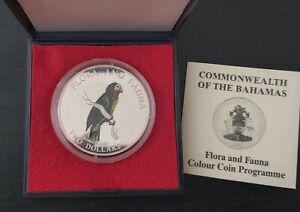 BAHAMAS RARE SILVER COLORED 2$ PROOF COIN 1995 YEAR KM#165 PARROT BOX COA